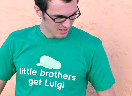 Little Brothers Get Luigi Super Mario Bros T-Shirt