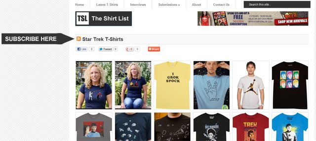 How to subscribe to lists on the Shirt List