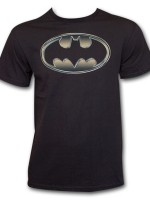 Batman Classic Golden Embossed Logo T-Shirt