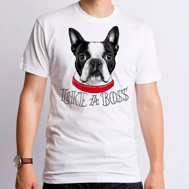 Like a boss boston terrier dog t shirt the shirt list for Boston rescue 2 t shirt