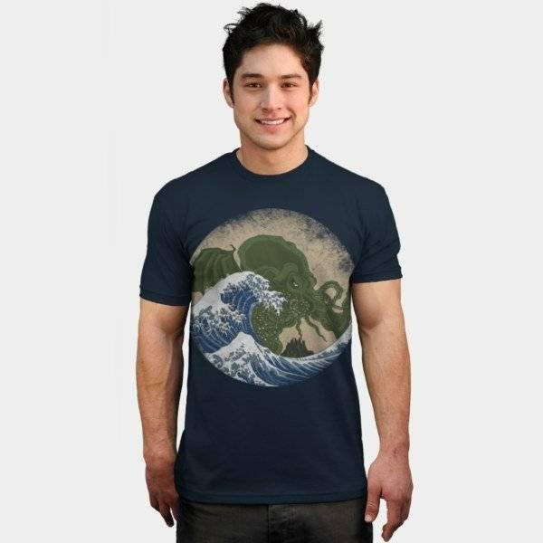 Design By Humans T Shirts   Hokusai Cthulhu T Shirt The Shirt List
