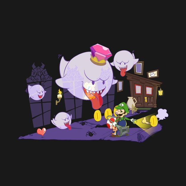 luigi s mansion with king boo and toad t shirt the shirt list