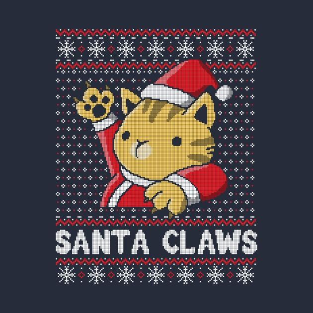 Xmas ugly sweater Cat Santa Claws