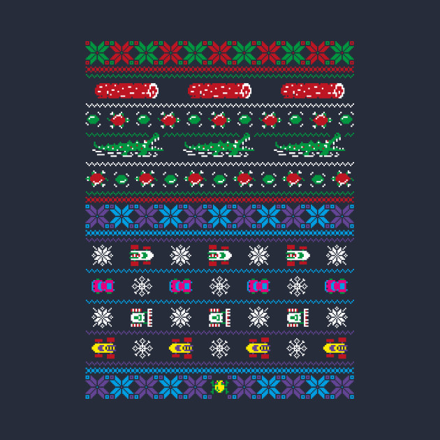 Frogs, Logs & Automobiles - Arcade Christmas Ugly Sweater T-Shirt ...