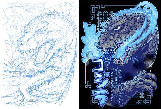 Godzilla from Sketch