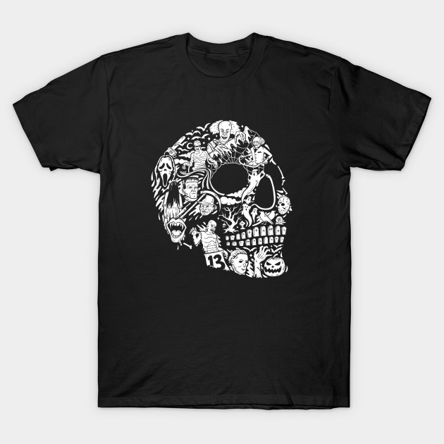 Horror Movie Mashup Skull T-Shirt